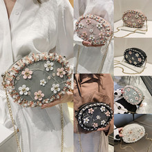 NoEnName UK New Women Candy Small Circle Round Shoulder Pearl Chain Cross Body Bag Purse Messenger