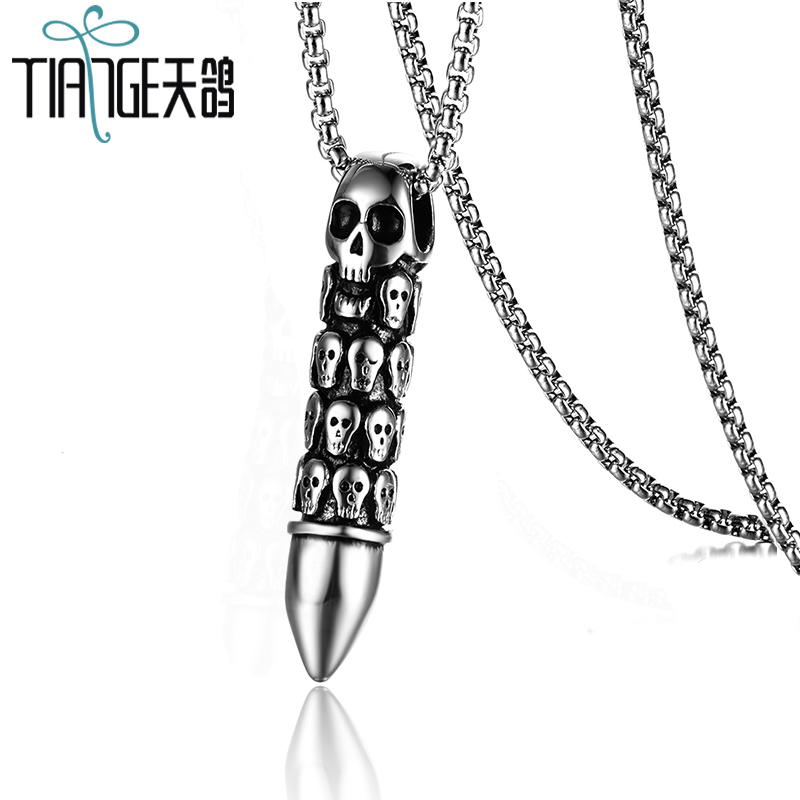 TIANGE Punk skull necklace stainless steel fashion men's