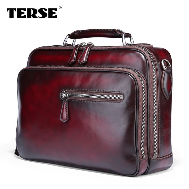 TERSE men business shoulder bag tobacco burgundy large capacity handmade  genuine leather briefcase luxury tote bag DIY logo 485 094ccf0afc