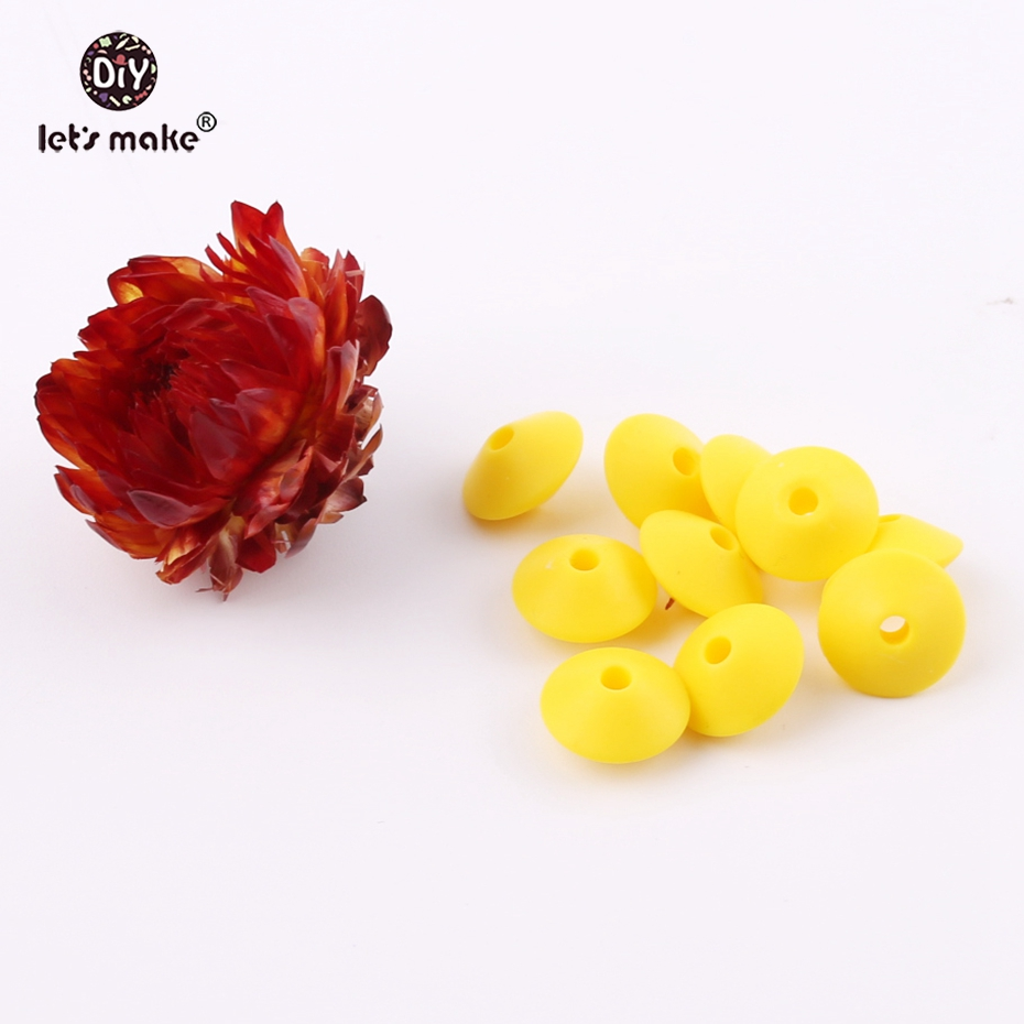 Lets Make Silicone Beads Abacus Lentil Beads 20PCS Baby Accessories Food Grade Materials DIY Crafts Safe Mordedor