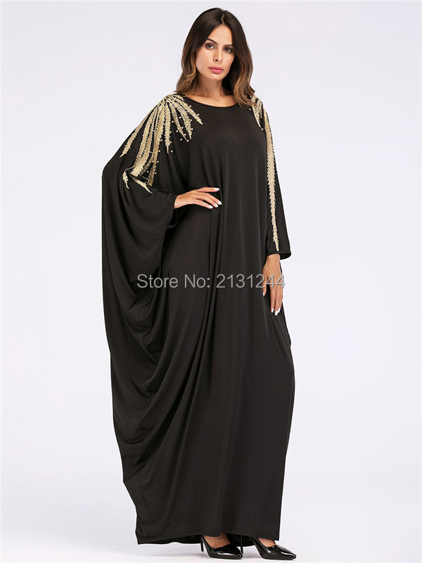 US $18 29 45% OFF|Loose Moslim Abaya Dubai 2019 New Style Muslim Black Long  Dress Batwing Sleeve Beading Kaftan Islamic Maxi Dresses-in Islamic