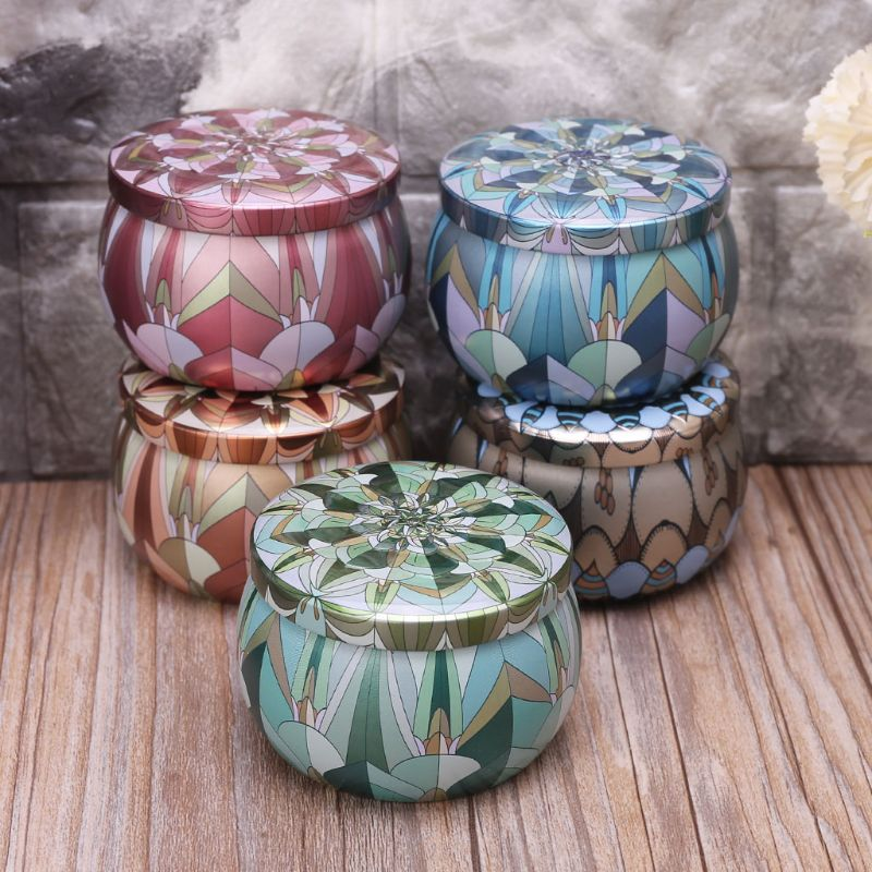 Retro Round Tin Box Jar Tea Candy Jewelry Coin Storage Container Case Candle Sealed Cans Holder Wedding Favor Gift