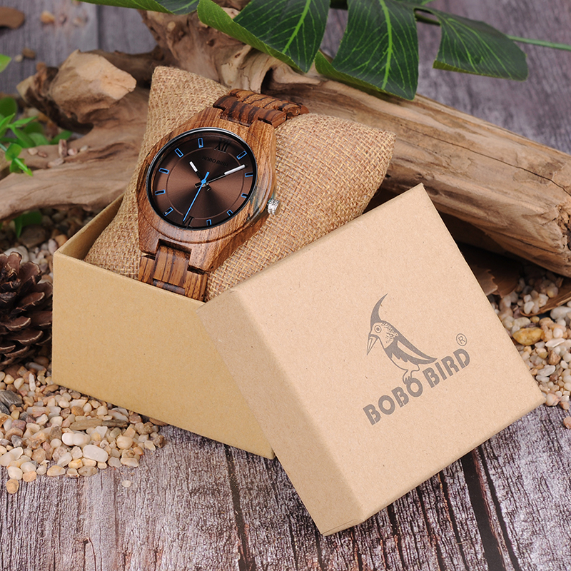 BOBO BIRD Træ ure Unique Zebrawood og Resin Conbined Case mænd - Mænds ure - Foto 6