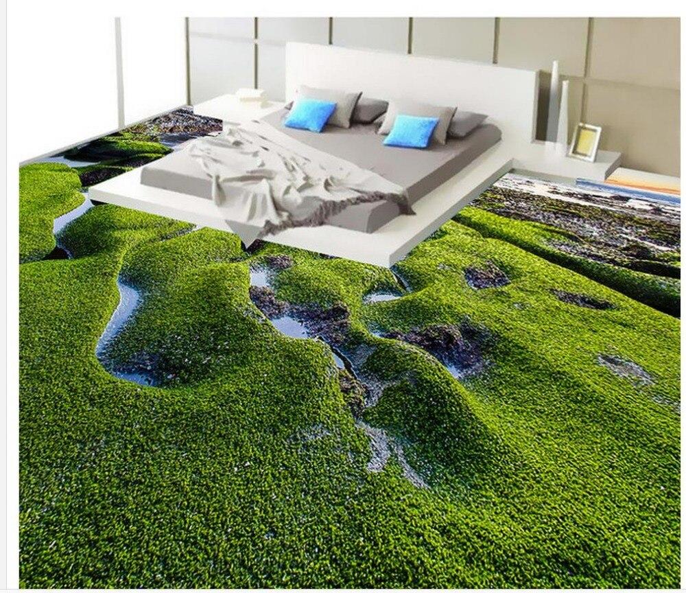 3d Wallpaper Pvc Seaside Rock Moss 3D Flooring Wallpaper