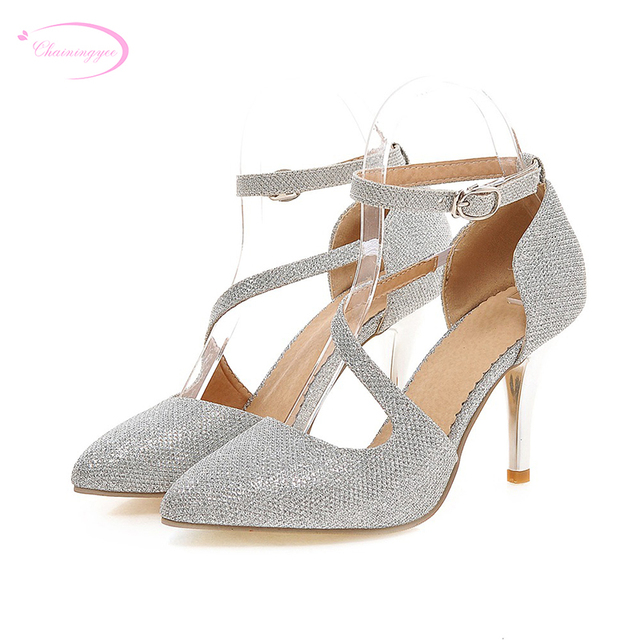 Chainingyee sweet party sexy pointed toe pumps glitter belt buckle gold  silver high heels women s shoes big size 21.5~26.5cm a277d566f699