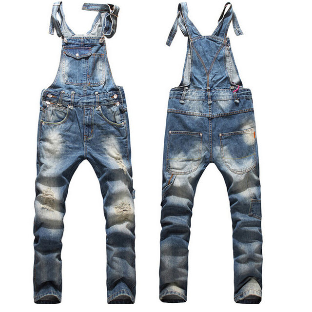 Fashion Mens Ripped Skinny Bib Overalls Jeans 2018 Casual