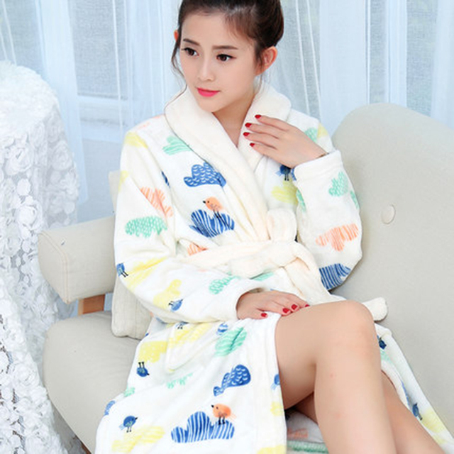 Autumn and Winter Couple Flannel Gown Female Coral Fleece Bathrobe ...