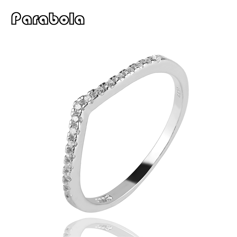 Parabola Heart Crown Shaped Fashion Rings 925 Sterling Silver with AAA Cubic Zirconia Jewelry For Women ZSR0036