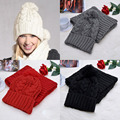 White/Gray/Black/Red Fashion Womens Knit Handmade Hat and Scarf Winter Set Knitting Skullcaps Collars