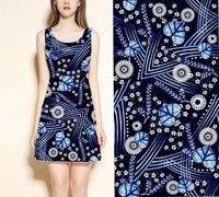 High silk cotton fabric blue flowers tissu liberty print silk fabric for dress shirt cloth scarf Crepe fabric carbon fiber cloth