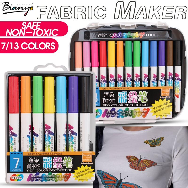 Bianyo 7/13 färger tyg textilmarkör akvarell skiss penna set för konstnär t-shirt målning liner skola brevpapper