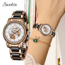 SUNKTA2019 New Quartz Watch Women Rose Gold Ceramic Strap  Fashion Casual Waterproof Watches Ladies Clock Relogio Feminino