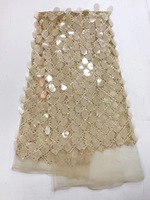 2017 High Quality African Lace Fabric Gold French Net Embroidery Sequins Tulle Lace Fabric For Nigerian