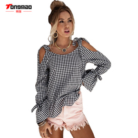 TONGMAO 2017 Autumn New Women S Shirt Casual Black And White Lattice Cross Strip Strapless Long