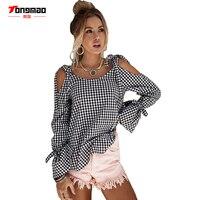 TONGMAO 2017 Autumn New Women S Shirt Casual Black And White Lattice Cross Strip Strapless Long