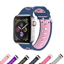 Banda esporte Silicone strap para apple watch 4 44mm/40mm pulseira de borracha correia de pulso + adaptador de metal para iwatch série 4