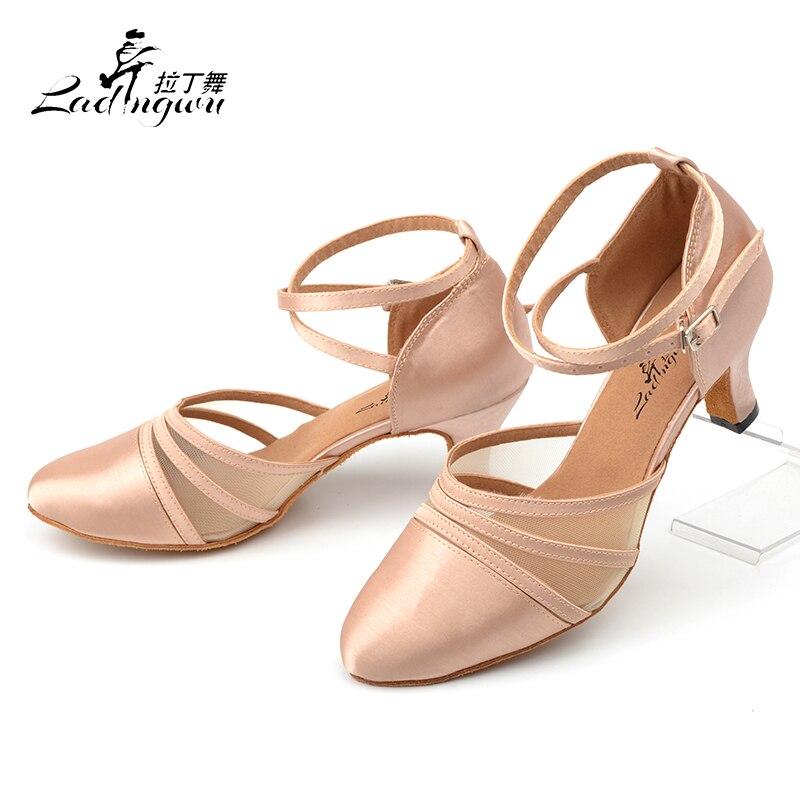 Ladingwu nuevos zapatos de baile latino de satén y malla de albaricoque/zapatos negros de Mujer Zapatos de competición de baile de salón zapatos de punta cerrada