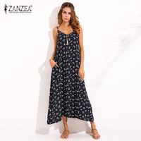 ZANZEA Boho Womens V Neck Floral Printed Sleeveless Summer Beach Party Spaghetti Strap Maxi Long Dress