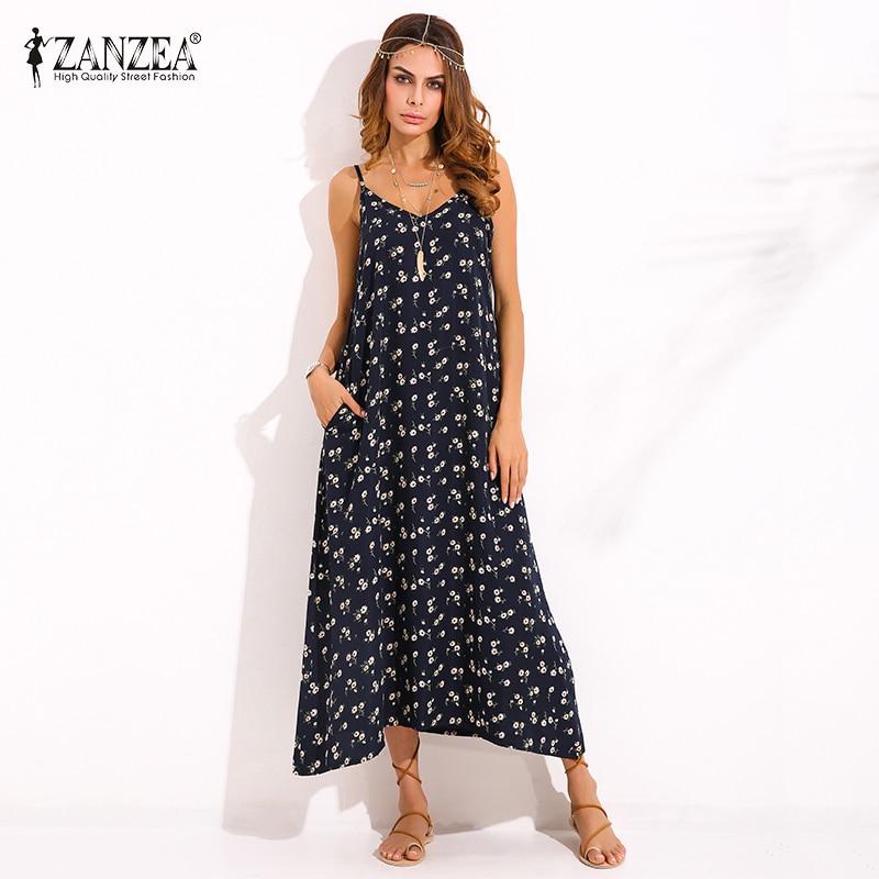 ZANZEA Womens Cuello En V Impreso Floral Sin Mangas Summer Beach Spaghetti Strap Maxi Vestido Largo Sexy Vestido de Vestir