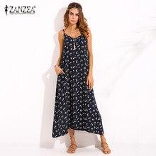 ZANZEA Womens V Neck Floral Printed Sleeveless Summer Beach Party Spaghetti Strap Maxi Long Dress Sexy Sundress Vestidos