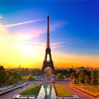 Free Shipping Romantic Modern Design Paris Tower Background Wall Paper Murals Custom High Quality Wallpaper