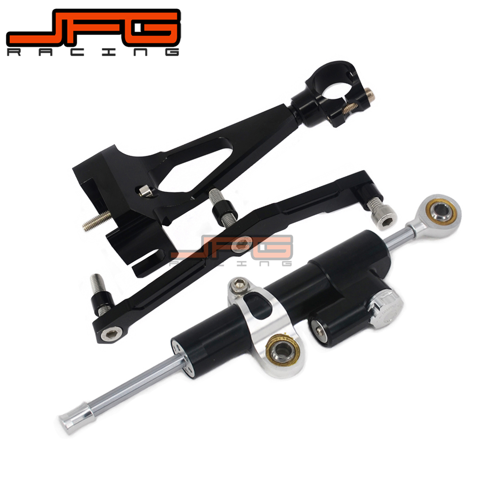 CNC Steering Damper Stabilizer Linear Reversed Safety Control & Adapter Bracket For YAMAHA MT09 MT-09 MT 09 2013 2014 2015 cnc steering damper stabilizer linear reversed safety control & adapter bracket for honda cb400 cb 400 vtec 1999 2000 2001 2012