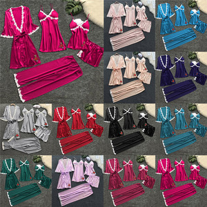 Женский костюм из 5 предметов, сексуальное ночное белье, нижнее белье, ночная сорочка, платье, костюм из 5 предметов