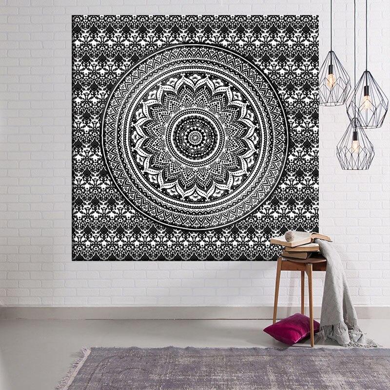 Indian Mandala Tapestry Purple Wall Hanging Bohemian Ethnic Picnic Home Decoration Blanket Geometry 200cm Polyester Handmade