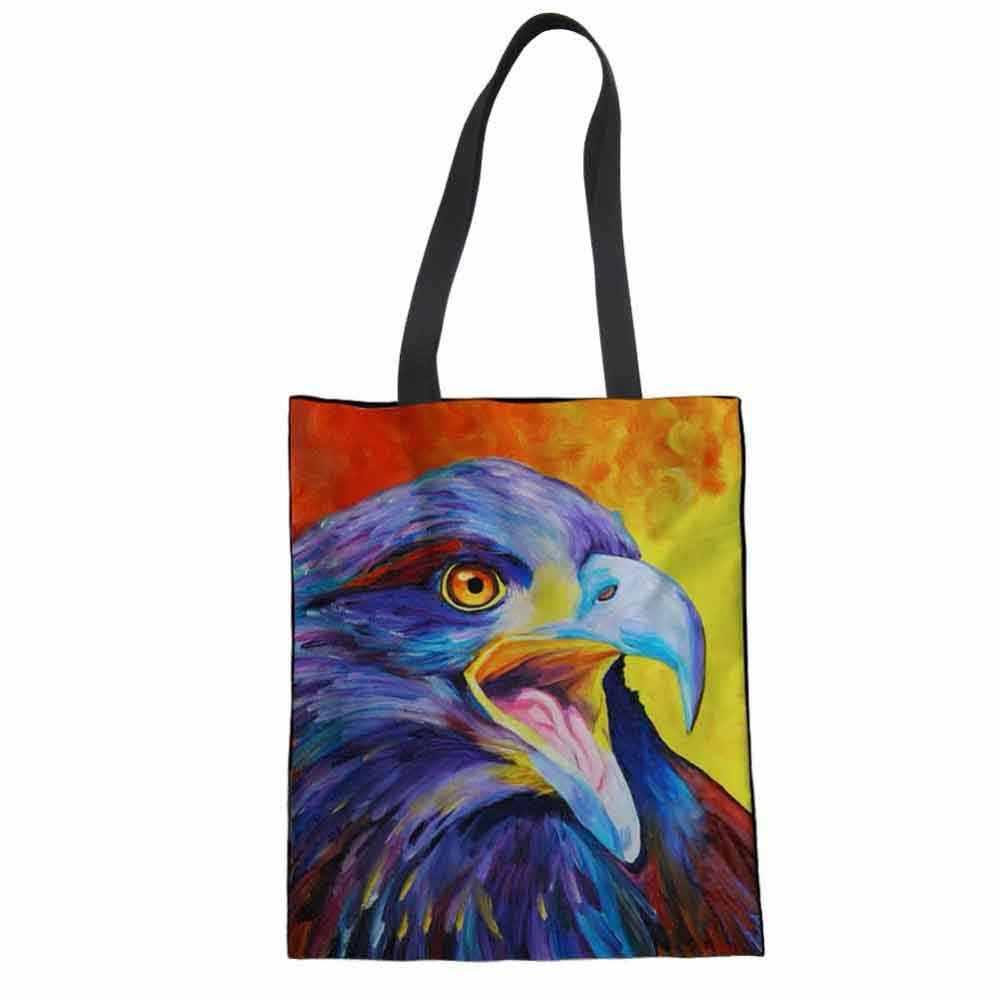 WHEREISART Mulheres Senhora Pintura Da Águia Lona Totes sacos de Compras Reutilizáveis Mercearia Algodão Bolsa Eco Dobrável Carrinho de boneca Russa