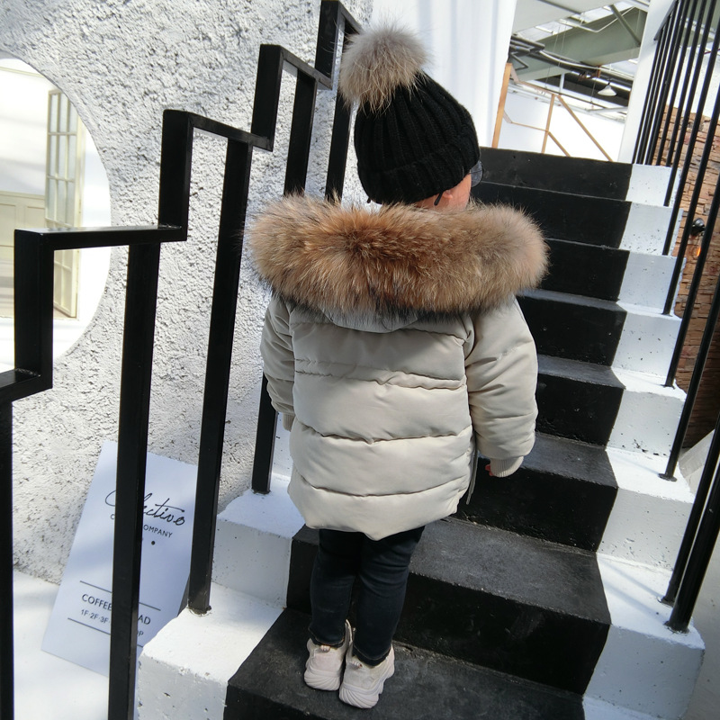 Fahsion real fur collar down cotton coats baby boys girls thicker warm outerwear hooded parka modis kids winter jackets ws12