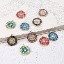 6pcs korea vintage alloy studded turkish devils eye round earrings for women pendant material diy handmade jewelry accessories