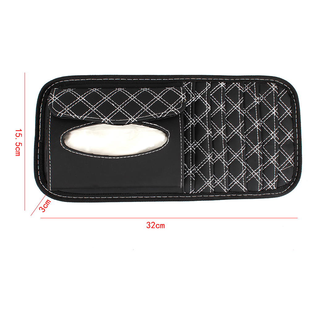 DVD Car Storage Bag CD Automobile Sunshade 2 In 1 Auto Organizer With Tissue Box