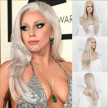 Natural Bouncy Sexy Long Straight Lady Gaga Ash Blonde Lace Wigs Synthetic Lace Front Hand Tied Blonde Heat Resistant Hair Wigs