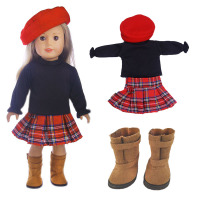 Doll Suit Hat Coat Plaid Skirt Boots A Total Of Four Pieces For 18 Inch American