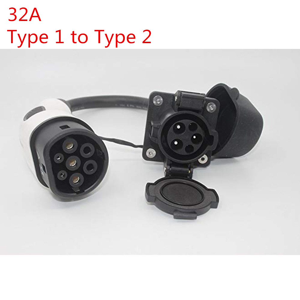 32A EV Adaptateur Sae J1772 Socket Type 1 À Type 2 IEC62196-2 EV Plug avec 0.5 m SAVE Câble pour électrique Véhicule De Voiture De Charge