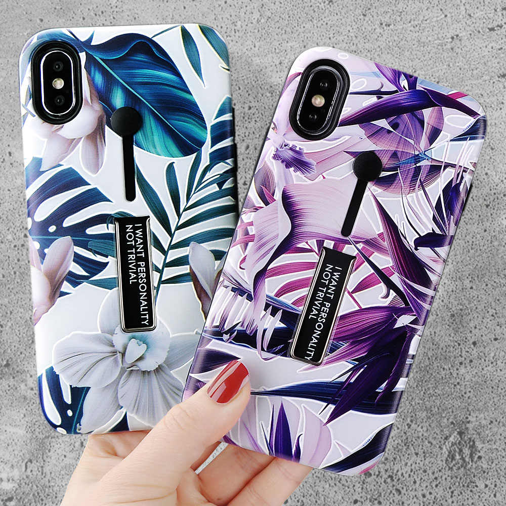 Funda Retro flor hojas ocultar anillo para iPhone X 6 6 S XR XS Max suave TPU Summmer funda de plantas para iPhone X 7 8 Plus