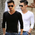 Solid color V Neck T Shirts Men Long Sleeve Cotton Fitness men's Undershirt Hot Sale 2016 Autumn New Fashion Casual  tops tees