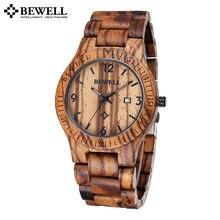 Bewell уникальный зебра клена смотреть мужчины авто дата календарь кварц деревянный мужские часы роскошные часы мужчины известный бренд наручные часы