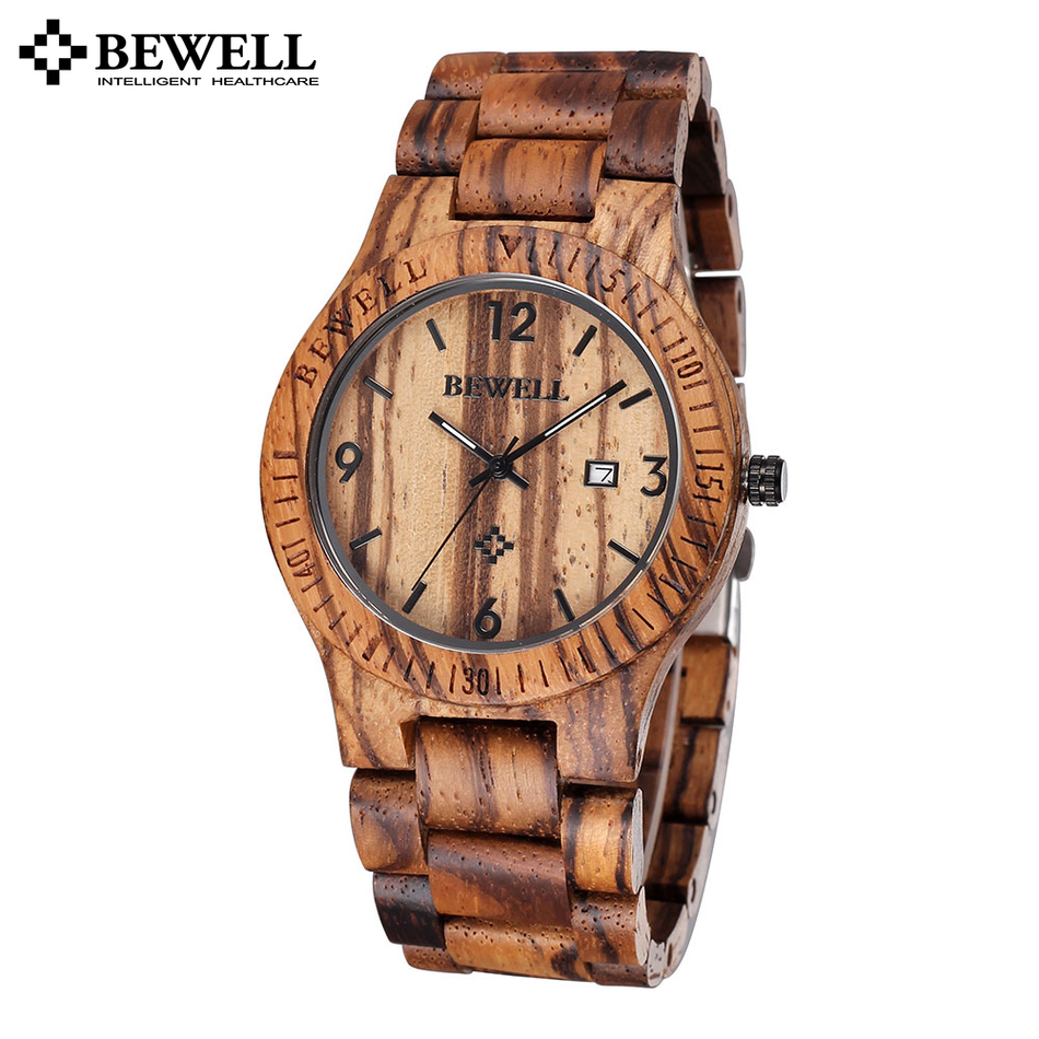 Prix pour Bewell unique zèbre en bois d'érable montre hommes auto date calendrier quartz en bois hommes de montres de luxe montre hommes célèbre marque montre-bracelet