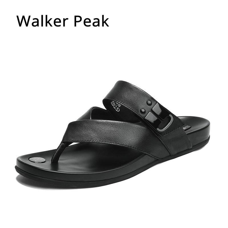 Walker Peak prawdziwej skóry kapcie męskie klapki japonki mężczyźni slajdy moda na co dzień klapki japonki letnie klapki plażowe w Japonki od Buty na  Grupa 1