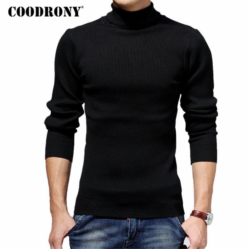 COODRONY Turtleneck Sweater Men Winter T