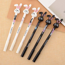 4pcs/lot Cartoon Long Ears Rabbit Gel Pen 0.38mm Black Ink Color Pen for Girl Student Gift Stationery Office School Supplies 4pcs lot office supplies hearts pencils pen colored pen gel ink pen multi color signature pen painting supplies student specific