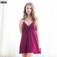 Summer Europe Home Clothes Women Fashion V Neck Sleeveless Sexy Lingerie Silk Nightgown Female Sweet Bedgown Sleep Dress