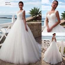 Свадебное платье трапециевидной формы из тюля для пляжа размера
