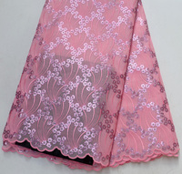 High Quality Baby Pink African wedding lace fabrics 5 Yards Double French Net lace for Wedding