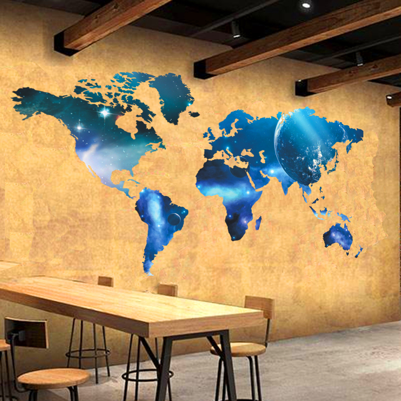 newest fashion world map space style wall decals for kids classroom ...