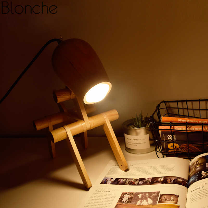 Nordic Creative Dog Wood Table Lamp Modern Led Stand Wooden Foldable Desk Light for Bedroom Study Home Decor Fixtures Luminaire