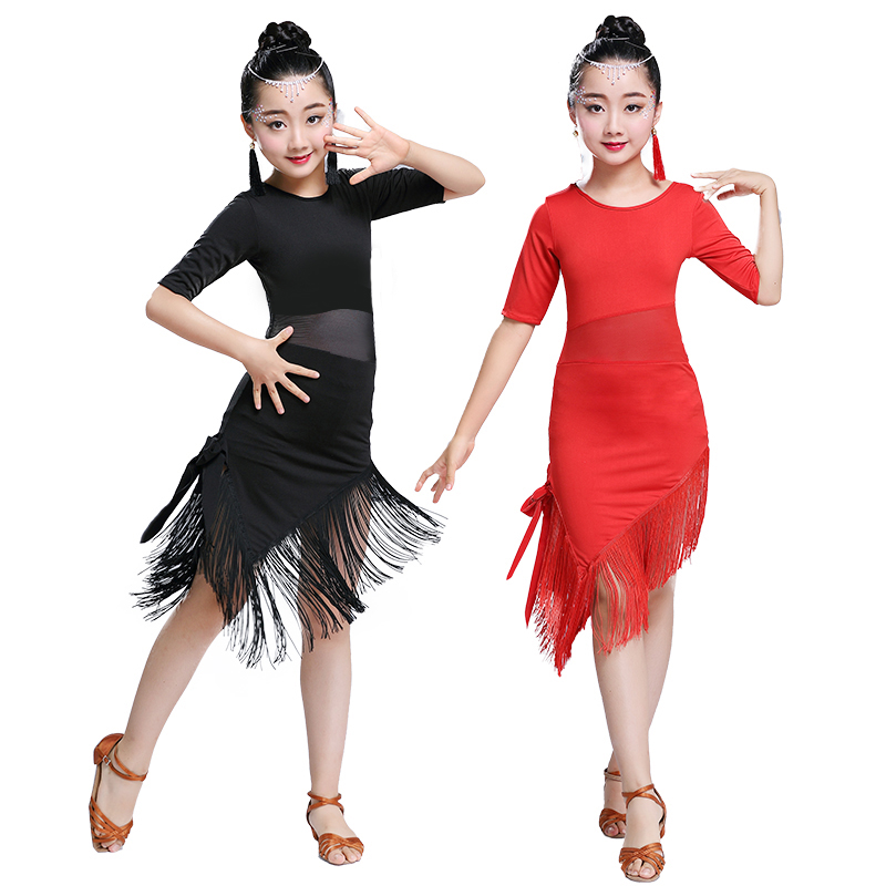 Child Girls Latin Dance Dress Fringe Latin Dance Clothes Salsa Costume Black Red Blue Tango Ballroom Dancing Dresses For Kids