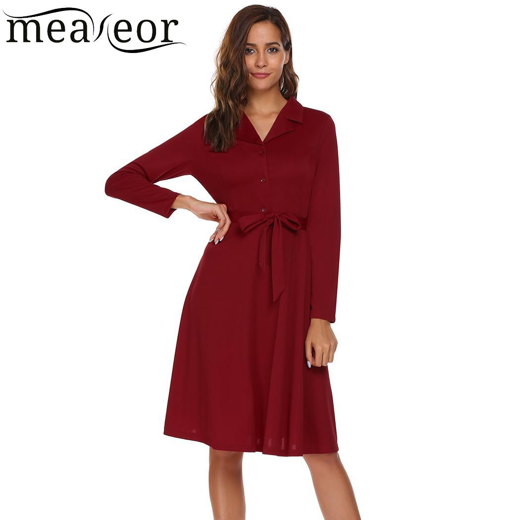 Meaneor Elegant Long Sleeve Women Dress Turn Down Collor Autumn Robe Lace Up Waist Pleated Women Shirt Dress Party Sexy Vestidos