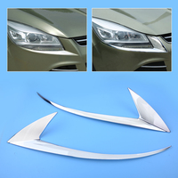 CITALL 2Pcs ABS Chrome Front Plated Headlight Cover Head Light Lamp Eyelid Eyebrow Trim for Ford Escape Kuga 2013 2014 2015 2016